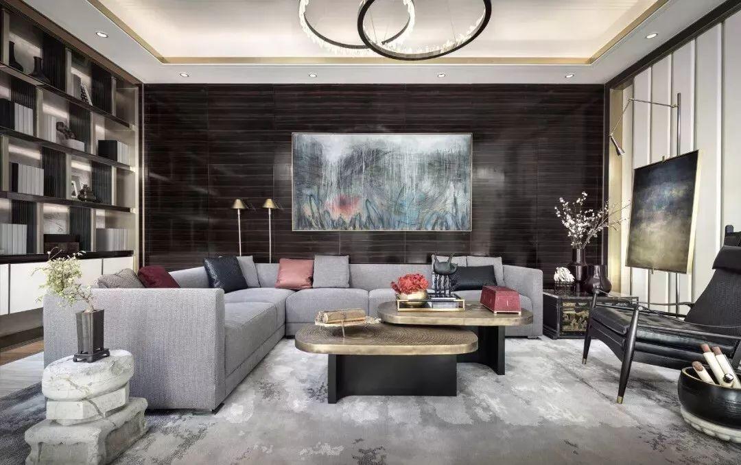 新中式风格别墅软装客厅