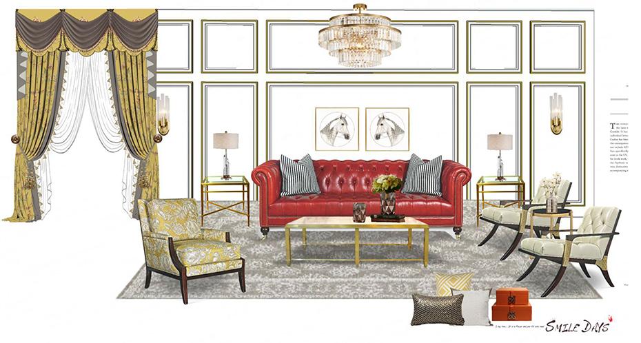 美式轻奢装修风格-客厅